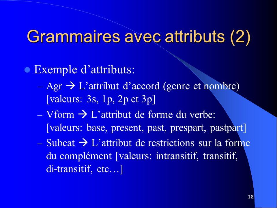 Grammaires avec attributs (2)
