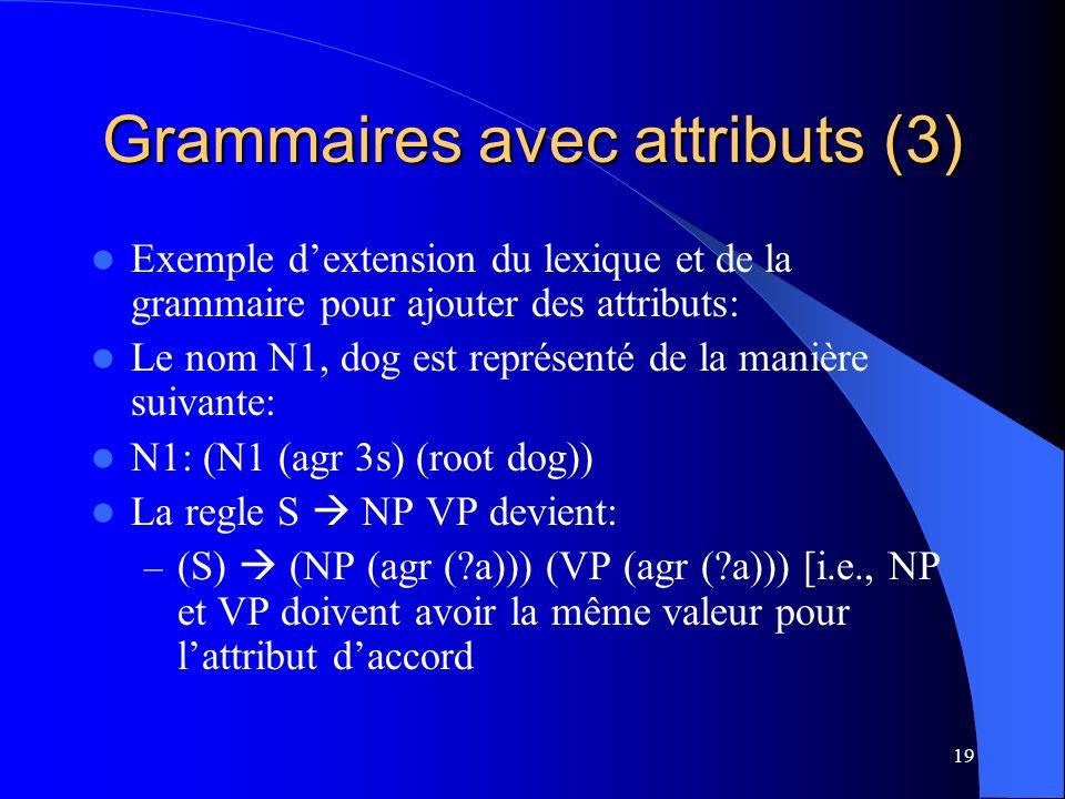 Grammaires avec attributs (3)