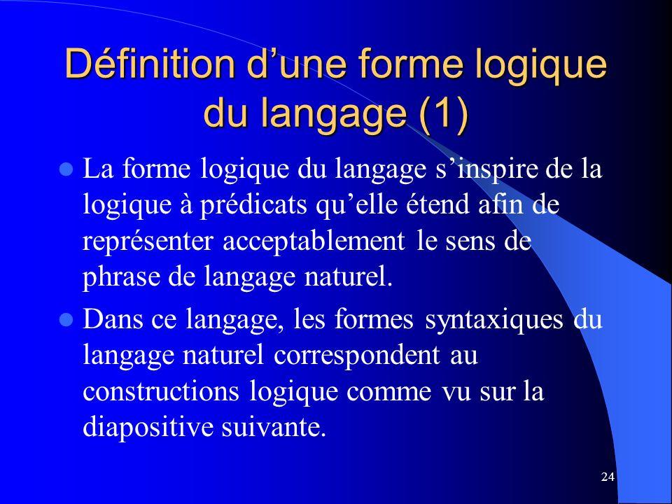 Définition d'une forme logique du langage (1)