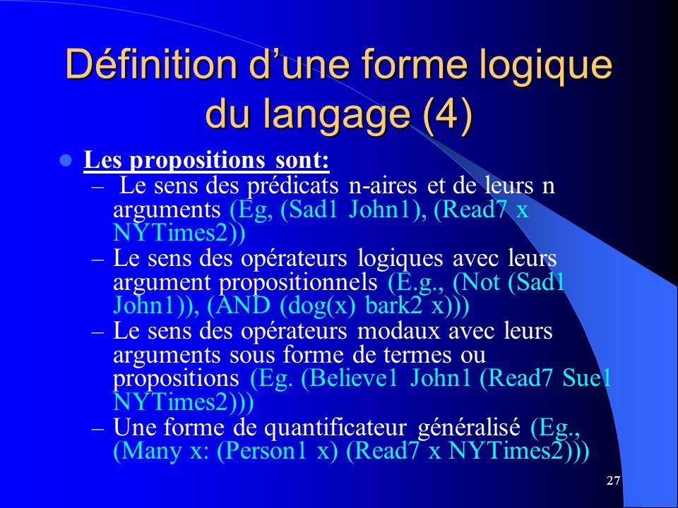 Définition d'une forme logique du langage (4)