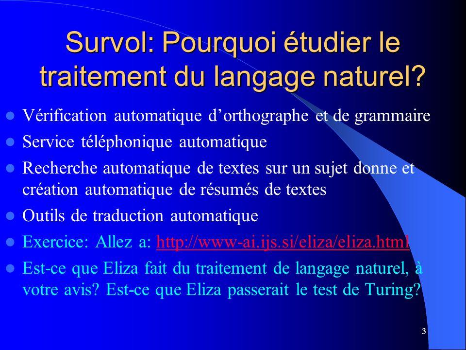 Survol: Pourquoi étudier le traitement du langage naturel