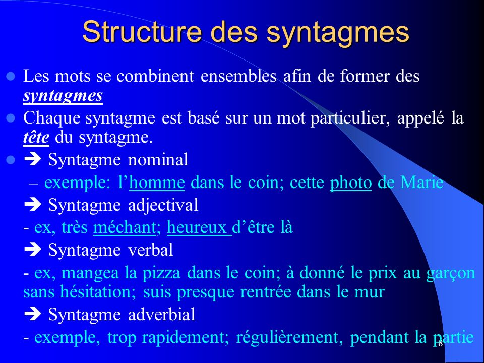 Structure des syntagmes