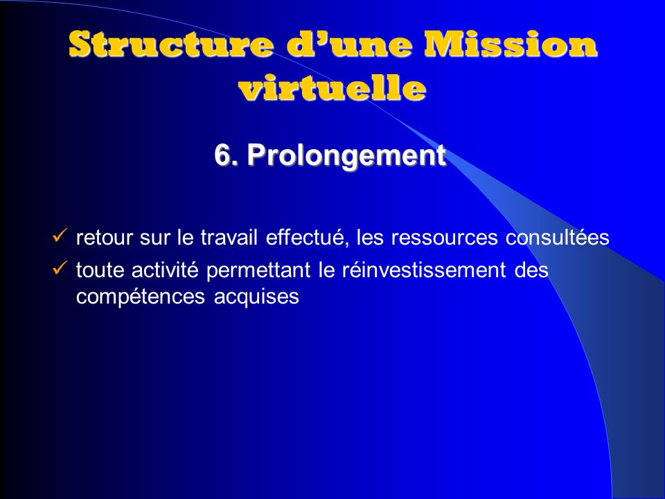 Structure d'une Mission virtuelle