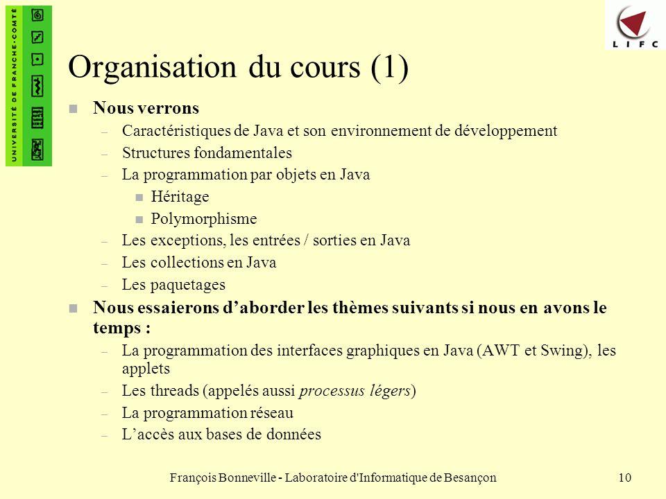 Organisation du cours (1)