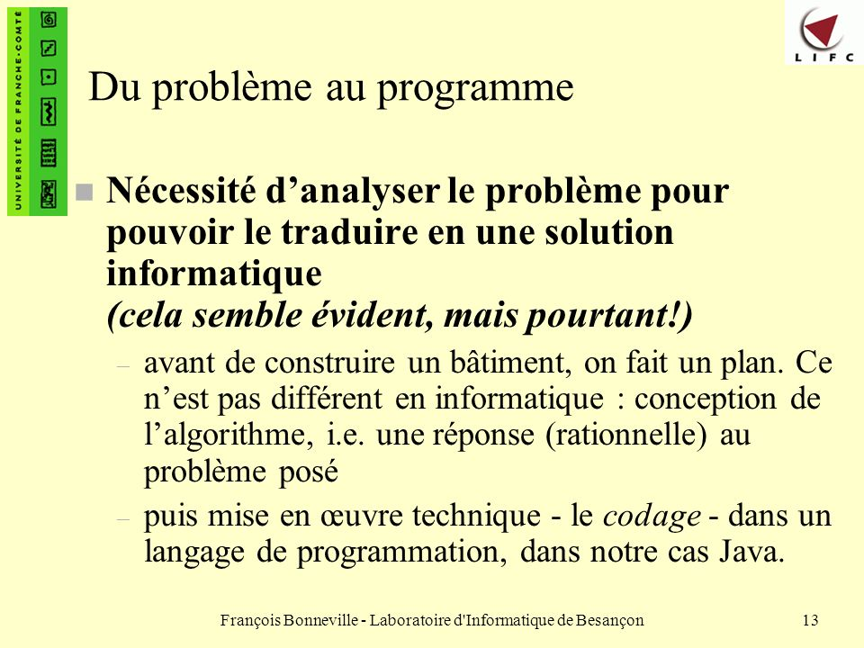 Du problème au programme