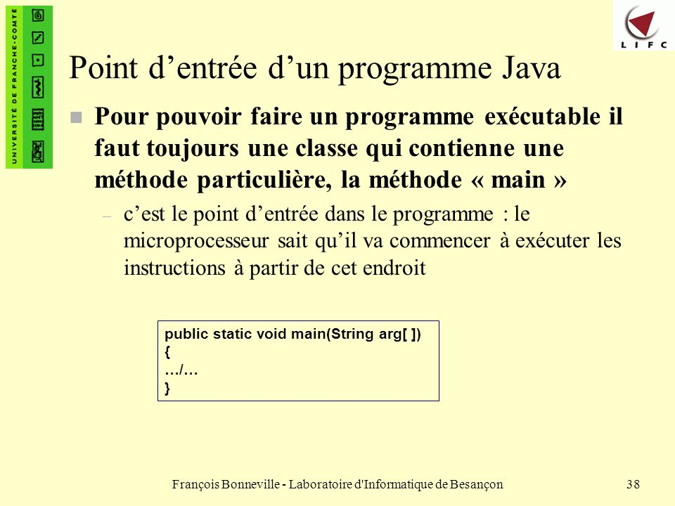 Point d'entrée d'un programme Java