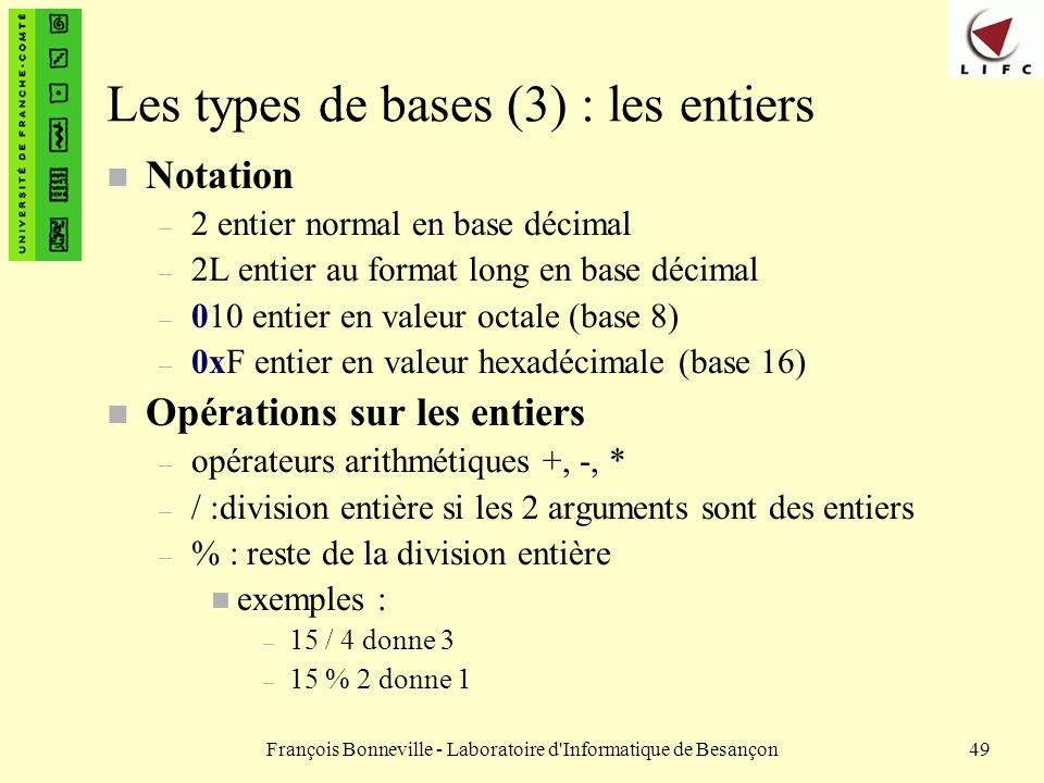 Les types de bases (3) : les entiers