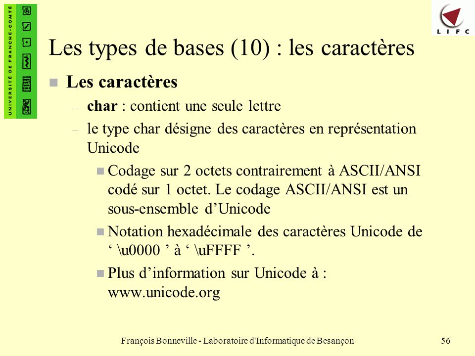 Les types de bases (10) : les caractères