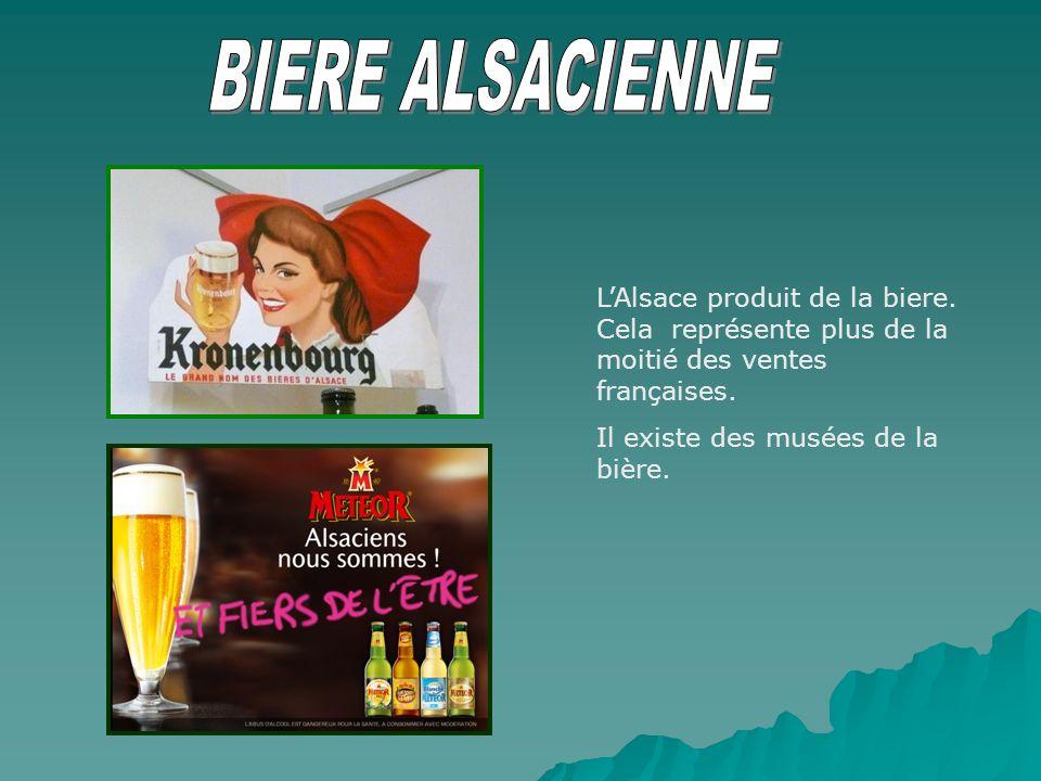 BIERE ALSACIENNE L'Alsace produit de la biere. Cela représente plus de la moitié des ventes françaises.
