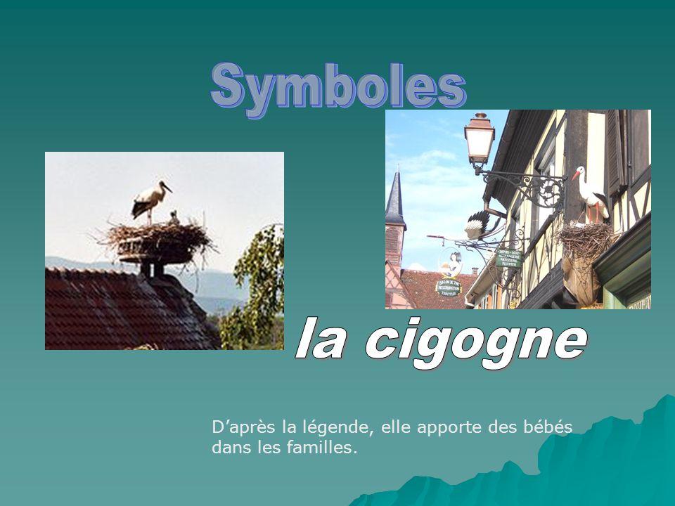 Symboles la cigogne D'après la légende, elle apporte des bébés dans les familles.