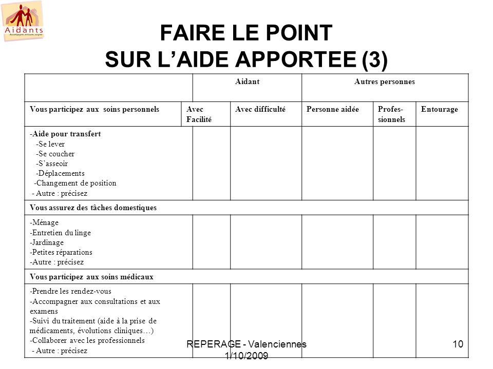FAIRE LE POINT SUR L'AIDE APPORTEE (3)