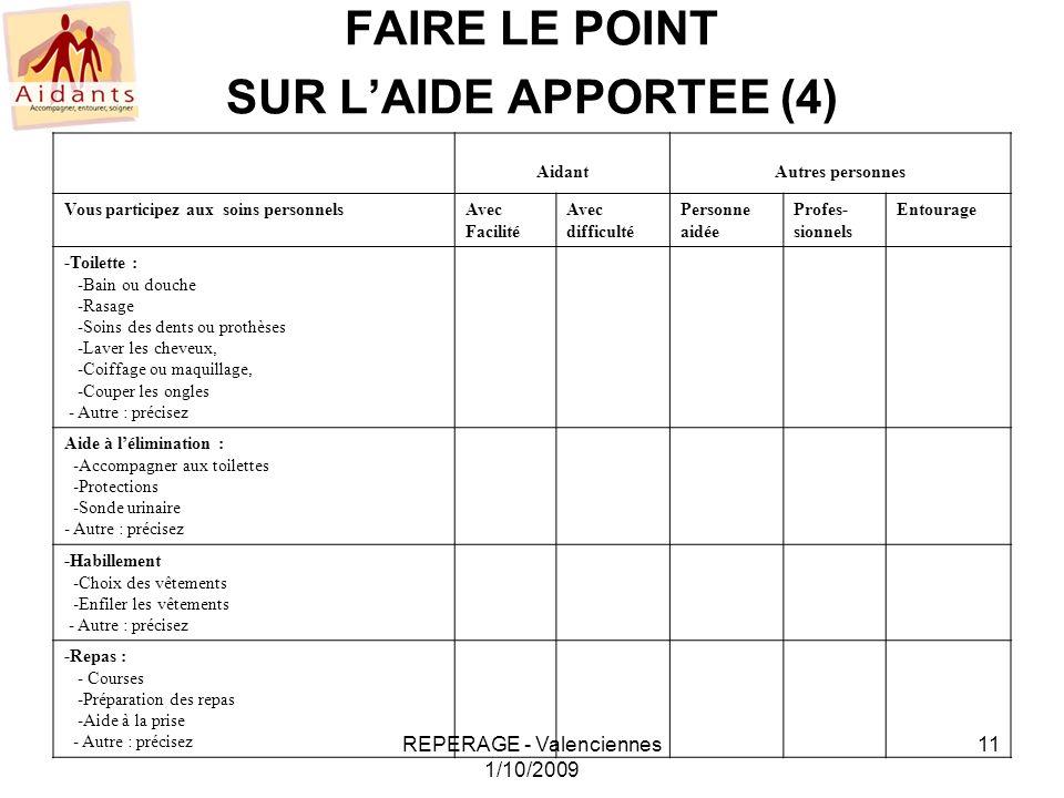 FAIRE LE POINT SUR L'AIDE APPORTEE (4)
