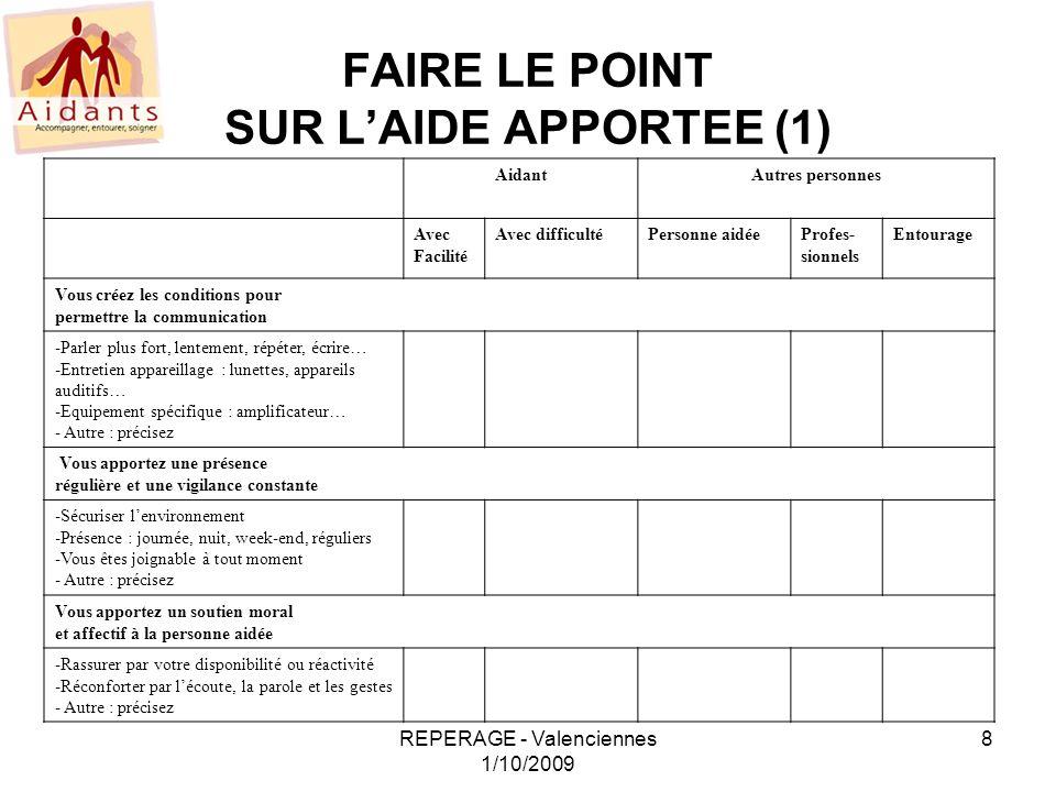 FAIRE LE POINT SUR L'AIDE APPORTEE (1)