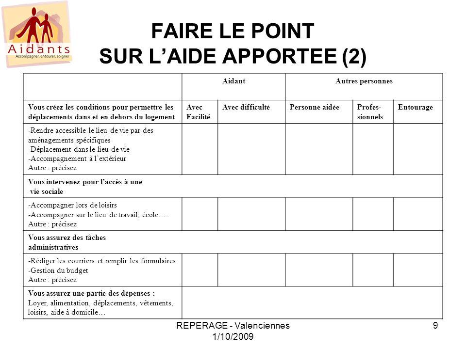 FAIRE LE POINT SUR L'AIDE APPORTEE (2)