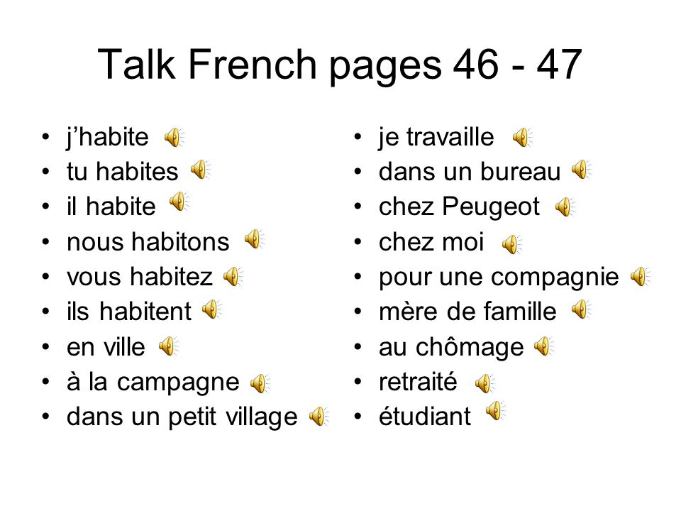 Talk French pages 46 - 47 j'habite tu habites il habite nous habitons