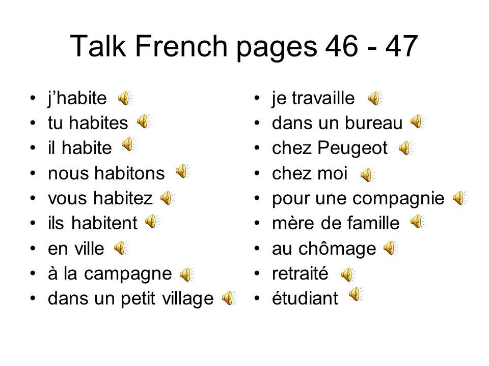 Talk French pages 46 - 47 j'habite tu habites il habite nous habitons
