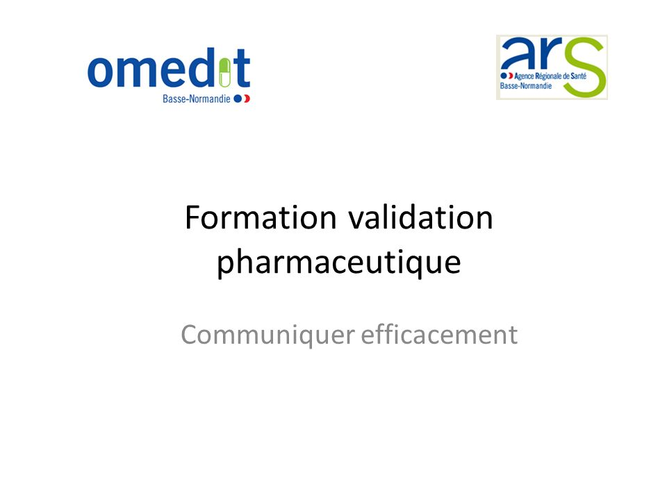 Formation validation pharmaceutique
