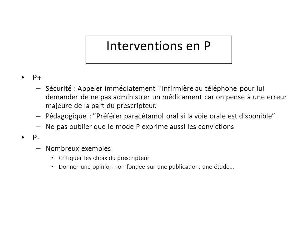Interventions en P P+ P-