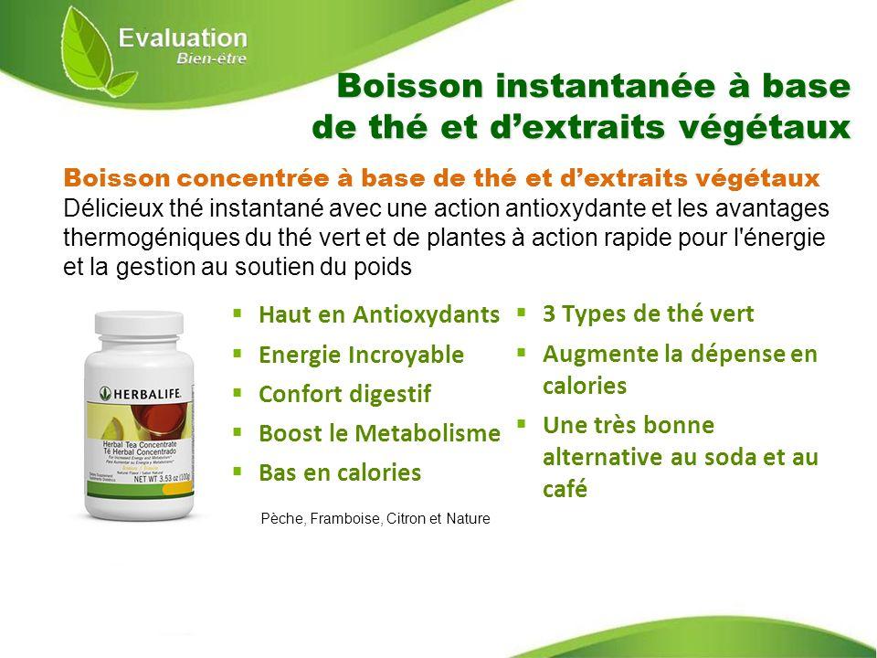 Boisson instantanée à base de thé et d'extraits végétaux