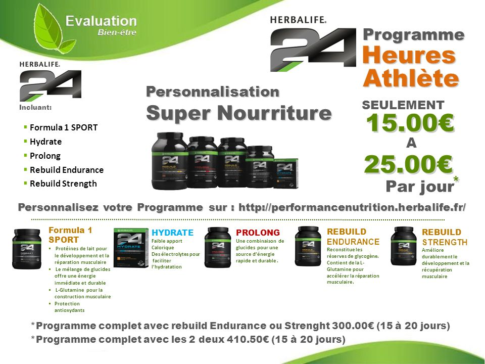 Heures Athlète 15.00€ 25.00€ Programme Par jour