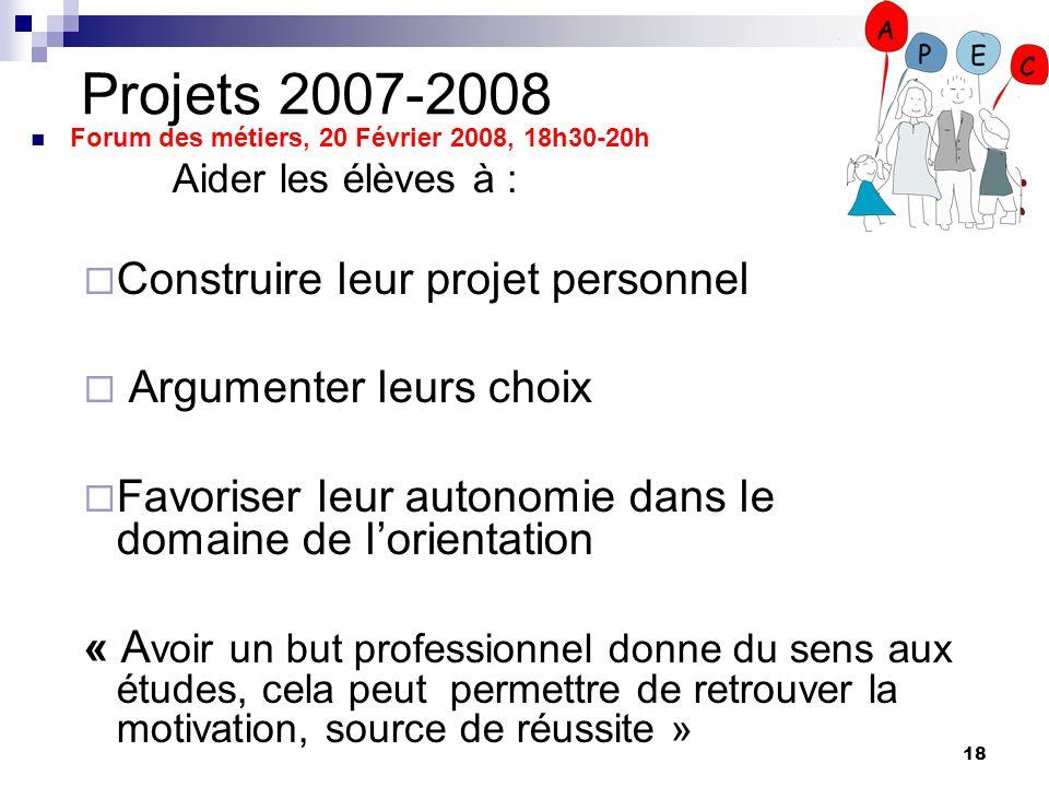 Projets 2007-2008 Construire leur projet personnel