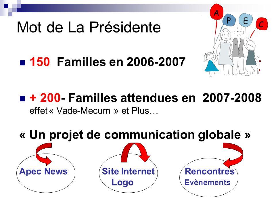 Mot de La Présidente 150 Familles en 2006-2007
