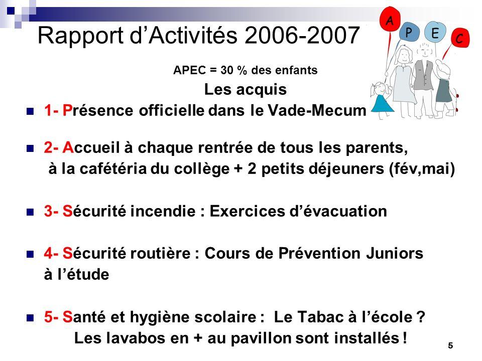 Rapport d'Activités 2006-2007 Les acquis