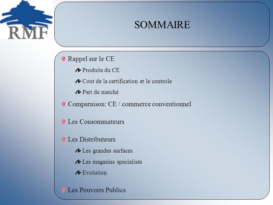 SOMMAIRE Rappel sur le CE Comparaison: CE / commerce conventionnel