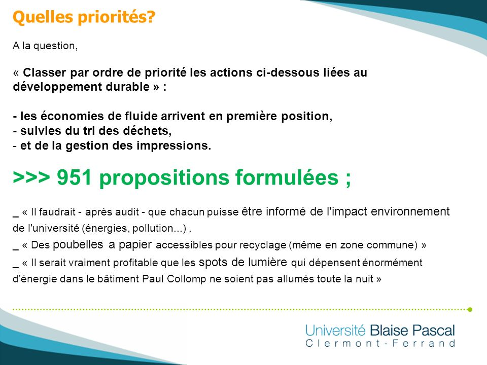 >>> 951 propositions formulées ;