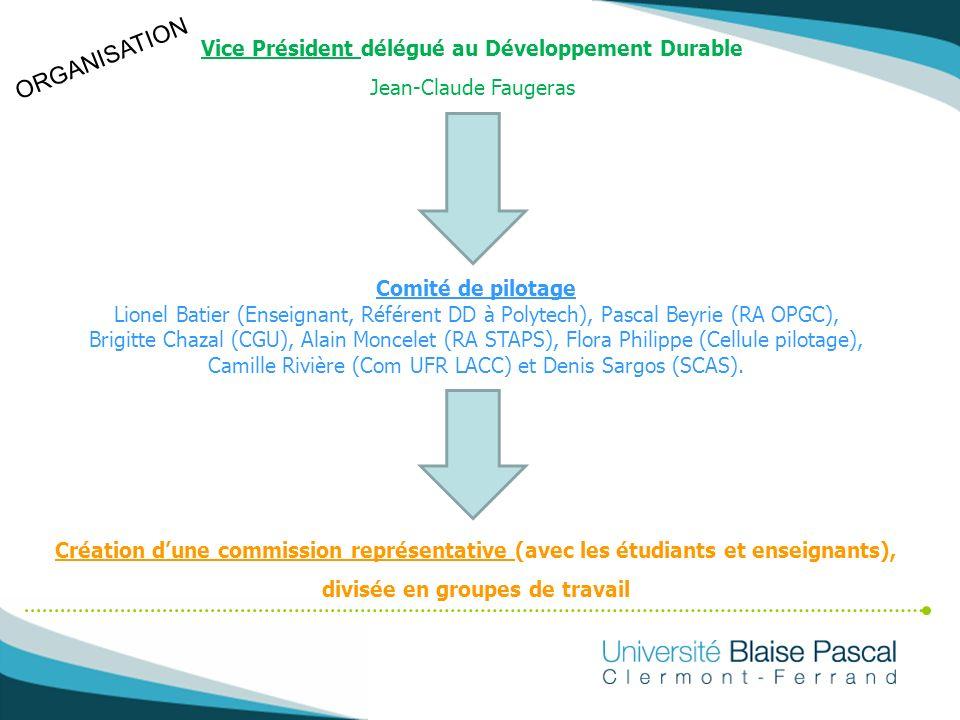 ORGANISATION Vice Président délégué au Développement Durable