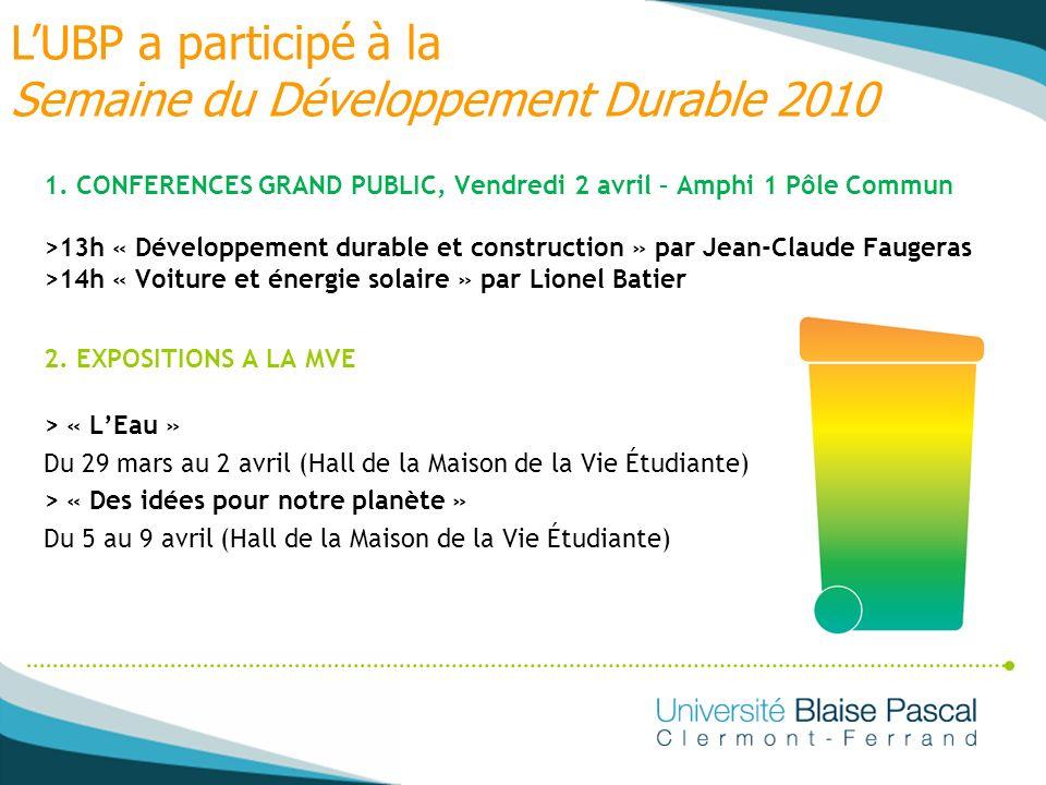 L'UBP a participé à la Semaine du Développement Durable 2010