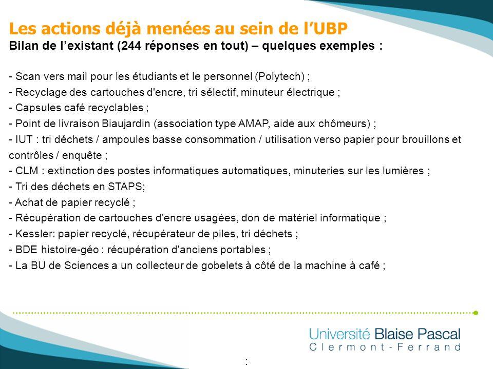 Les actions déjà menées au sein de l'UBP