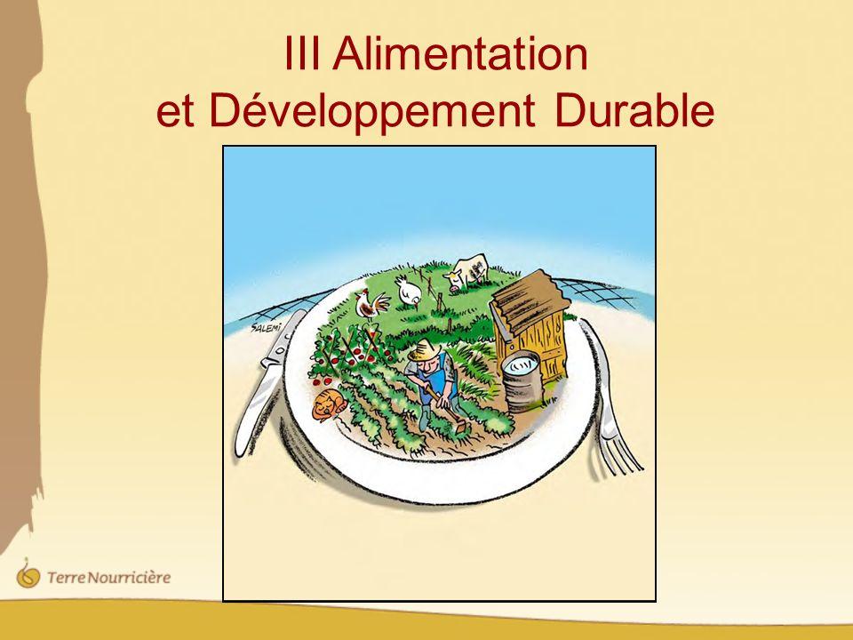 III Alimentation et Développement Durable