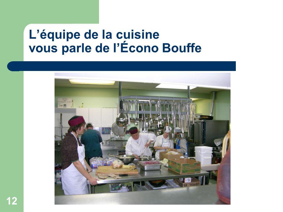 L'équipe de la cuisine vous parle de l'Écono Bouffe