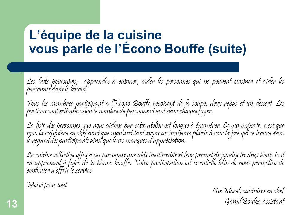 L'équipe de la cuisine vous parle de l'Écono Bouffe (suite)