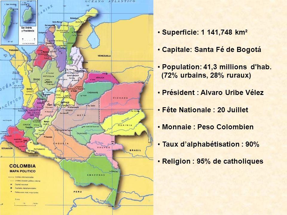 Superficie: 1 141,748 km² Capitale: Santa Fé de Bogotá. Population: 41,3 millions d hab. (72% urbains, 28% ruraux)