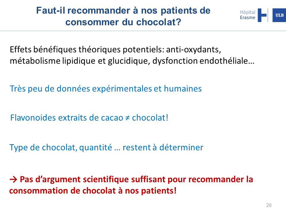Faut-il recommander à nos patients de consommer du chocolat