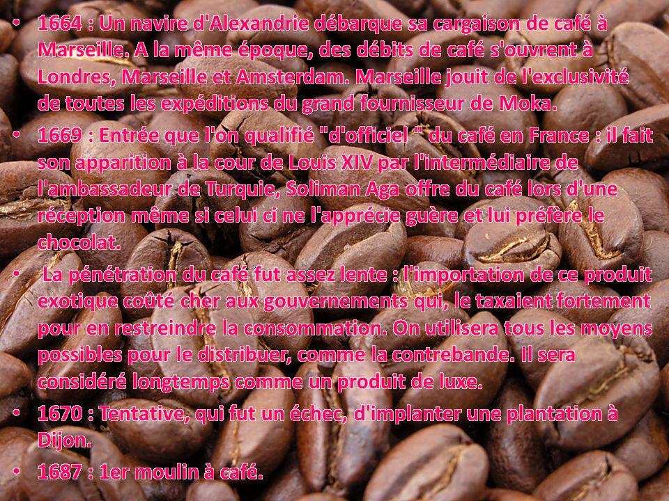 1664 : Un navire d Alexandrie débarque sa cargaison de café à Marseille. A la même époque, des débits de café s ouvrent à Londres, Marseille et Amsterdam. Marseille jouit de l exclusivité de toutes les expéditions du grand fournisseur de Moka.