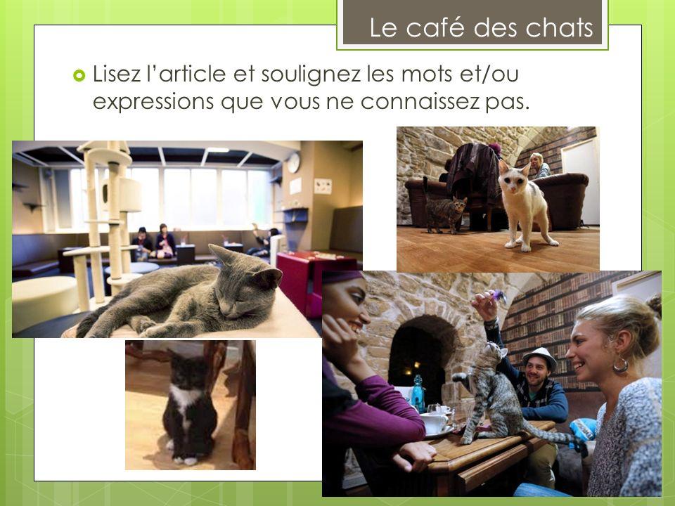 Le café des chats Lisez l'article et soulignez les mots et/ou expressions que vous ne connaissez pas.