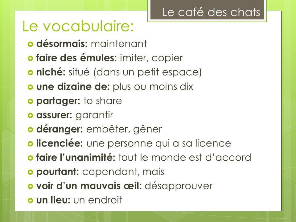 Le vocabulaire: Le café des chats désormais: maintenant