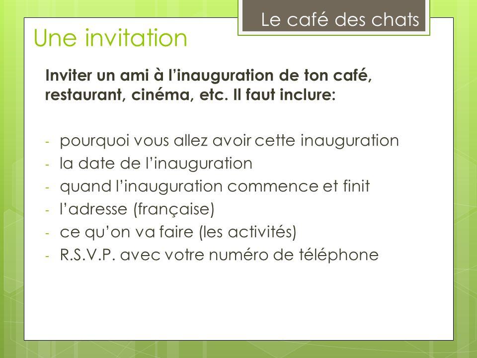 Une invitation Le café des chats