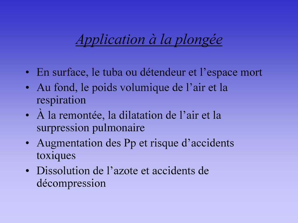 Application à la plongée