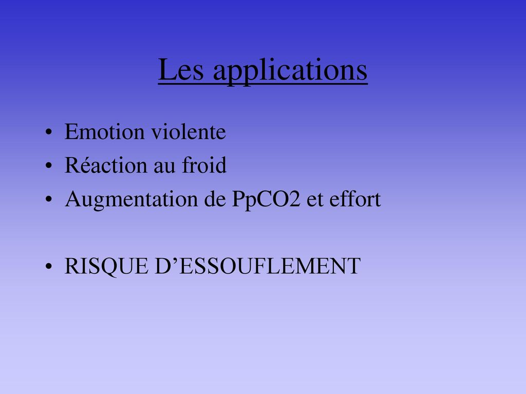 Les applications Emotion violente Réaction au froid