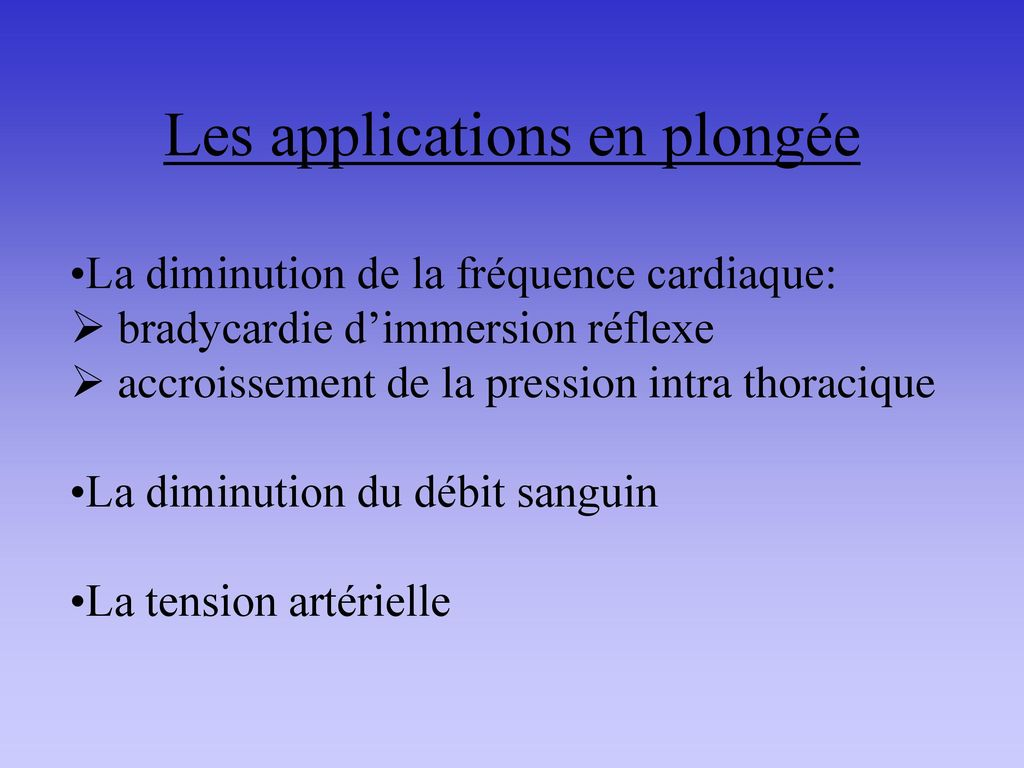 Les applications en plongée