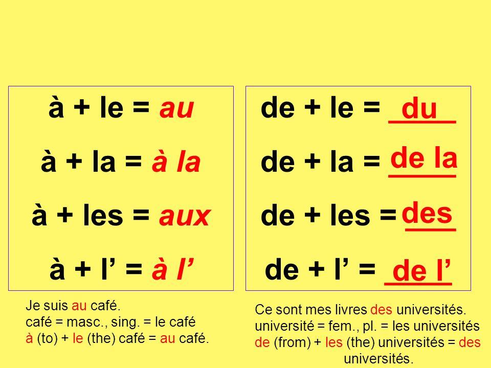 à + le = au à + la = à la à + les = aux à + l' = à l' de + le = ____