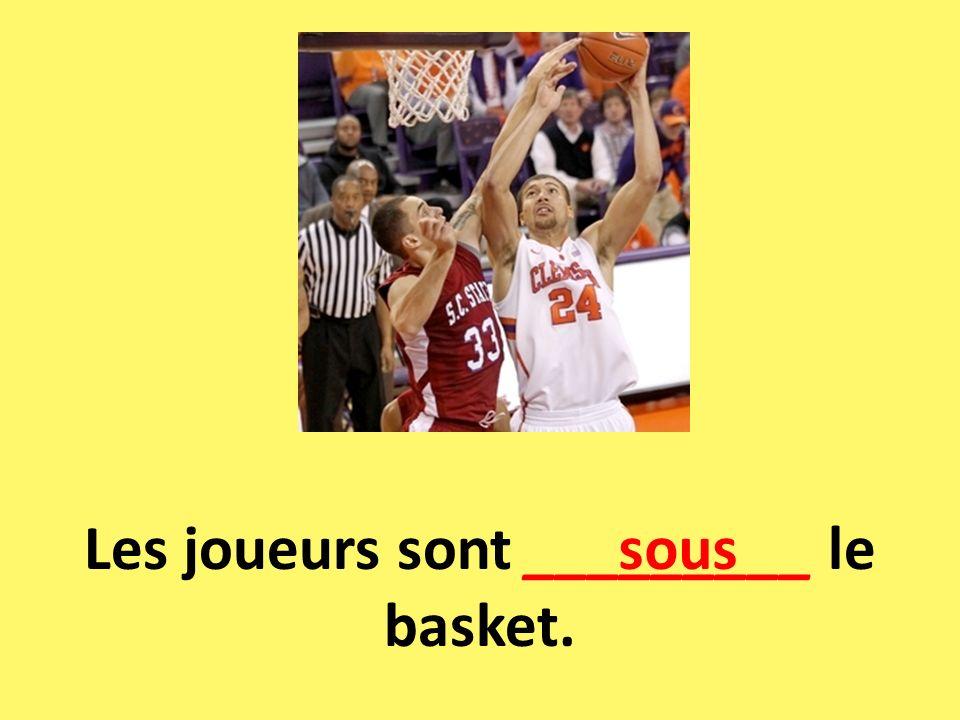 Les joueurs sont _________ le basket.