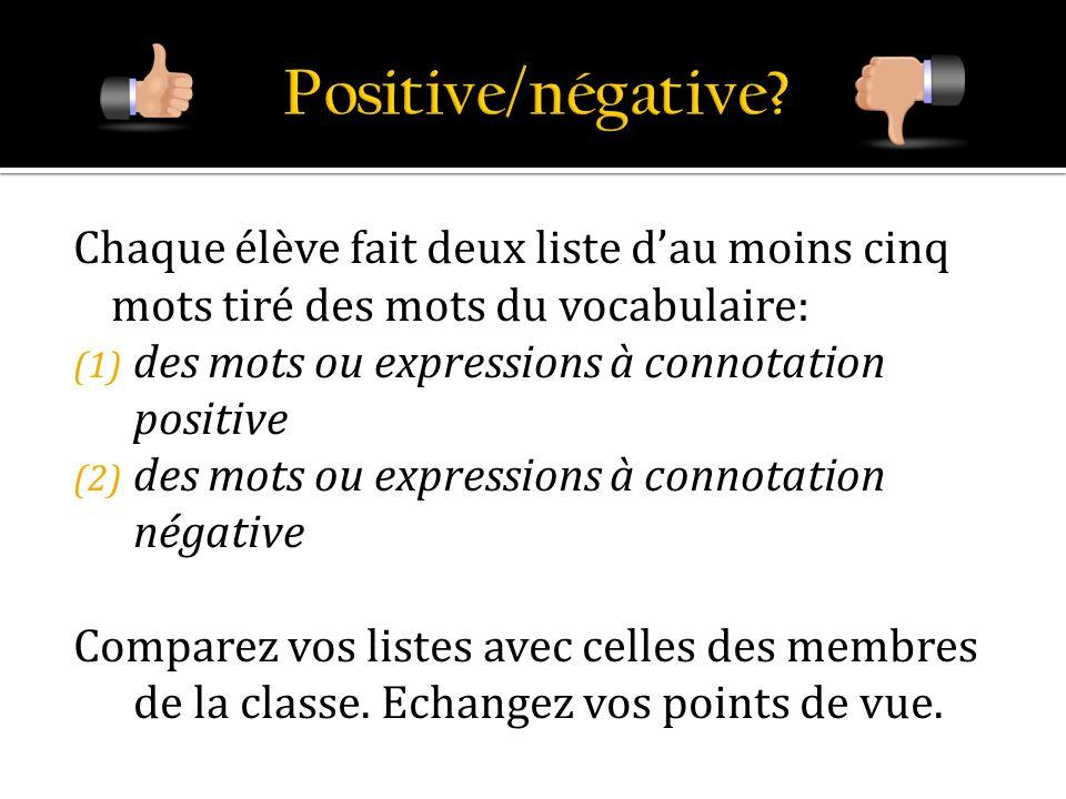 Positive/négative Chaque élève fait deux liste d'au moins cinq mots tiré des mots du vocabulaire: des mots ou expressions à connotation positive.