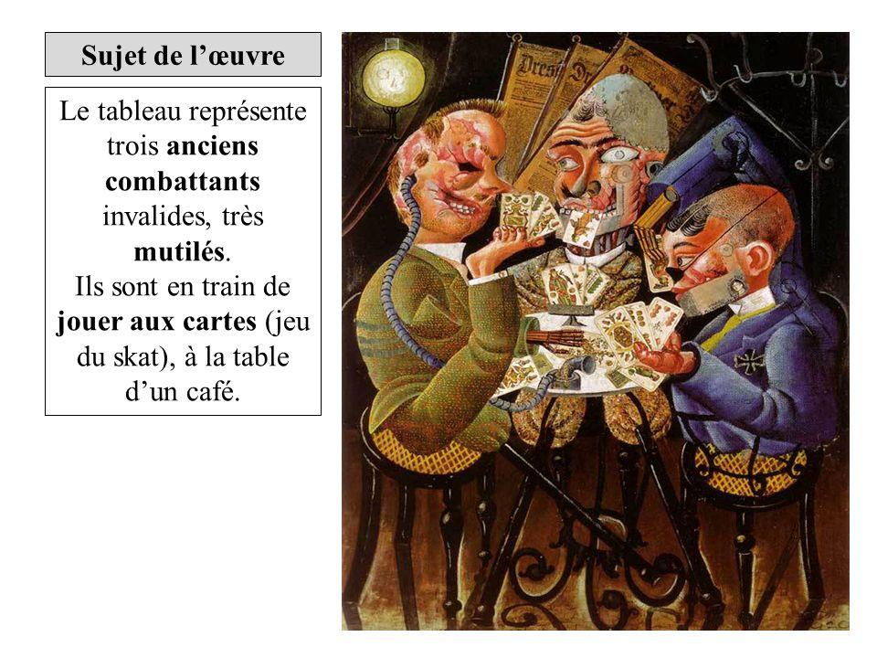 Sujet de l'œuvre Le tableau représente trois anciens combattants invalides, très mutilés.