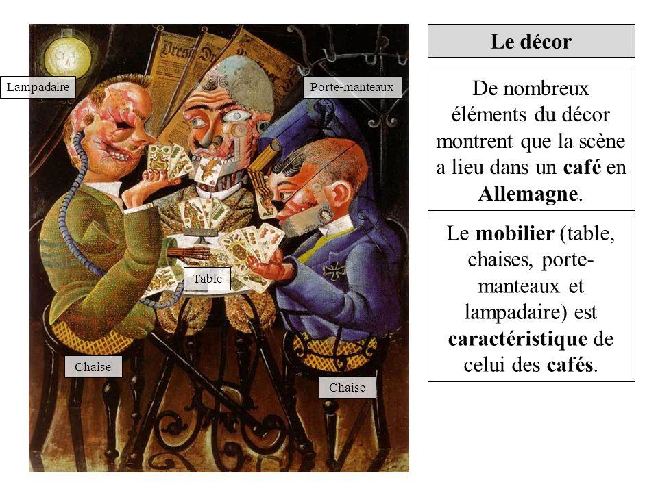 Le décor De nombreux éléments du décor montrent que la scène a lieu dans un café en Allemagne. Lampadaire.