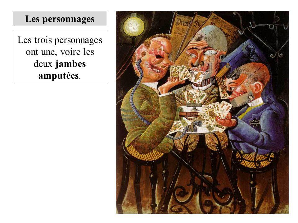 Les trois personnages ont une, voire les deux jambes amputées.